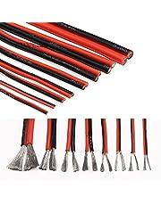 Flexibele kabel 2pin flexibele zachte siliconen draad 2p tined koperen lamp verlichting led strip verlengkabel 24/21/20/18/16/14/12/10 AWG zwart rood Voor auto's, schepen (Specification : 10AWG)