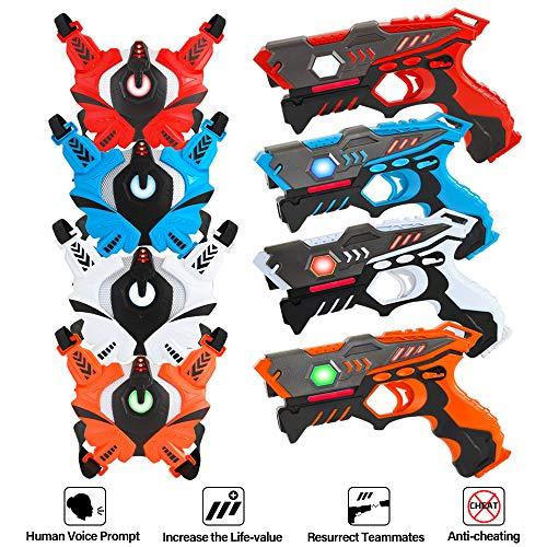 VATOS Infrarot Laser Tag Set, 4 Active Infrarot-Pistole mit Westen 4 Spieler, LaserTag-Blaster ür Kinder und Erwachsene, Kinder-Spielzeug Innenraum im Freien