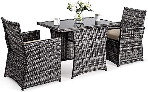 YRRA 3-Piece Outdoor-ESS-Set platzsparende Rattan-Bistro-Set mit Glas-Top-Couchtisch und 2 gepolsterte Stühle Patio-Konversationsmöbel-Set (Beige)