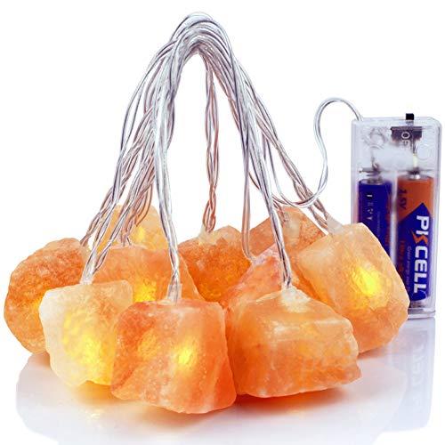Himalaya-Salz-Lichterkette mit 2 AA-Batterien, natürlicher Salzblock, 10 LED-Glühbirnen