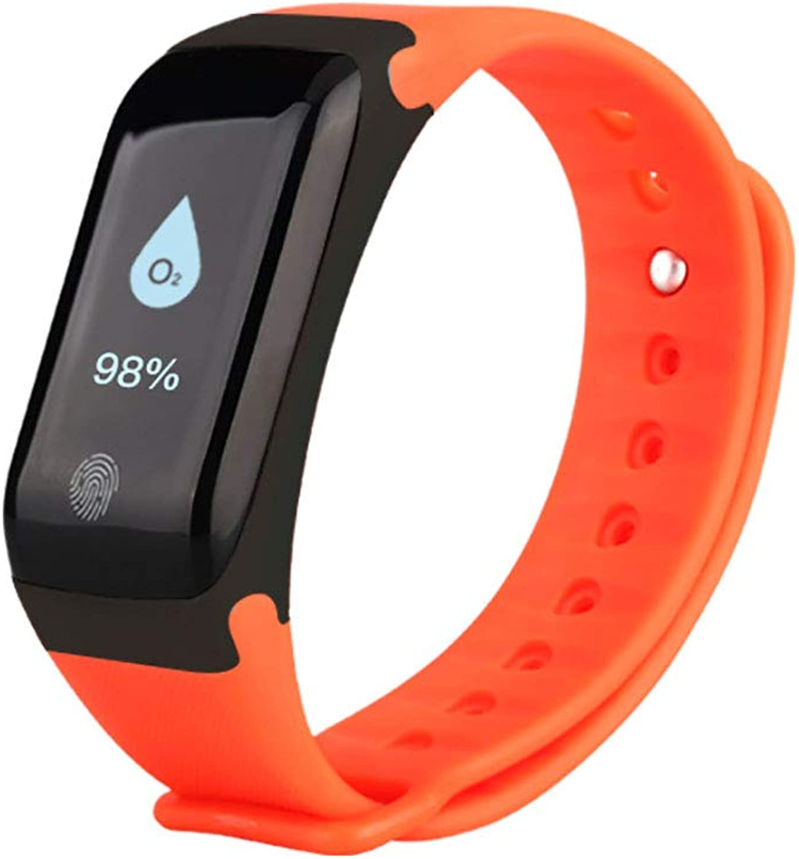 Smart Bracelet, 0.66 OLED Display IP67 Waterproof Watch Heart Rate Blood Pressure Blood Oxygen Monitoring Sports Bracelet TPU Strap,orange