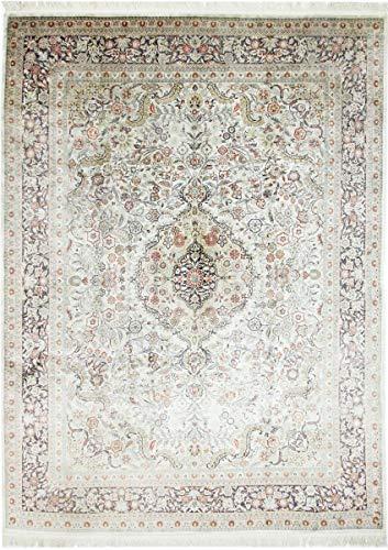 Nain Trading China Herike Seide 375x272 Orientteppich Teppich Grau/Beige Handgeknüpft Indien