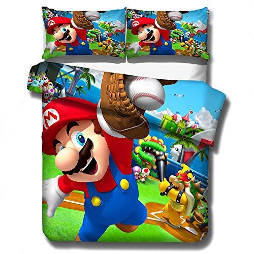 ZYNYHGS Juego de Cama con Funda nórdica 3D para niños de Mario Games, fanáticos de los Juegos, Cama Doble Individual, Funda nórdica Suave y cómoda, Funda de Almohada, Ropa de Cama-E_210x210cm (3pcs)