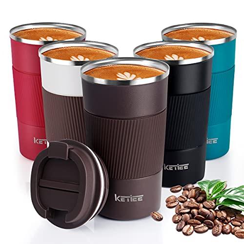 KETIEE Tazza Termica,510ml Tazza da Viaggio per Caffe,Tazza da caffè Riutilizzabile,Tazza Termica da Viaggio,Tazza da Viaggio Isolata, Beuta da Vuoto in Acciaio Inossidabile,Tazze da caffè da Viaggio