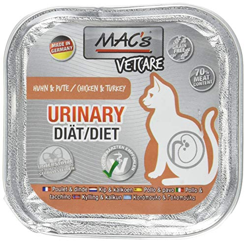 Mac's kattenvoer vrij van dierbare vetcare urinaire kip & kalkoen, 100 g, (16X100g)
