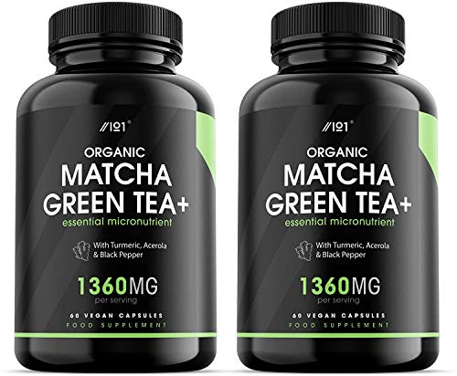 Organic Matcha Green Tea Extract Capsules - 1360mg - Boosted with Turmeric, Acerola & Black Pepper, 60 Vegan Capsules - Made in UK. (2 Pack)