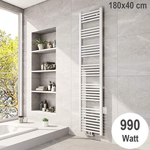 Meykoers Badheizkörper 1800x400mm Handtuchtrockner Mittelanschluss Weiß 990 Watt, Design Heizkörper Handtuchwärmer Heizung Radiator Heizkörper für Bad