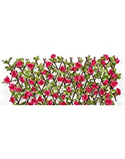 AACXRCR Uitbreiding van kunstmatige hek screening met bloemen, houten hedg panelen houten hedge intrekbare trellis hek met kunstbloemen bladeren, tuin decoratie Privacy scherm voor achtertuin Home Dec