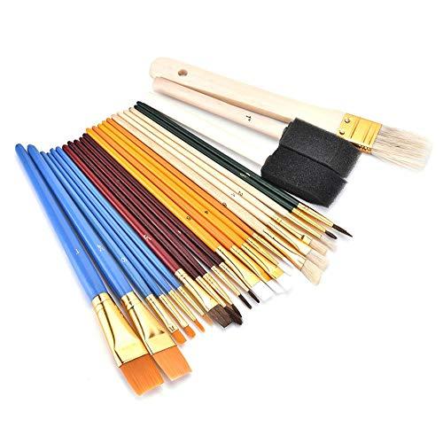 Pennelli, 25 set di pennelli professionali Pennello a punta tonda Pennello per pittura Funzionale Lega di alluminio Tubi di nylon Resistente manico in legno Matita