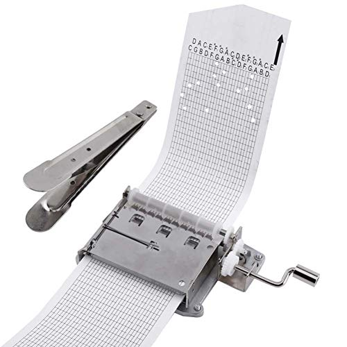 30 Note DIY Hand Crank Music Box Movement Kit + 10Pcs Blank Paper Strips Tapes Puncher for Your Customize Songs Gift