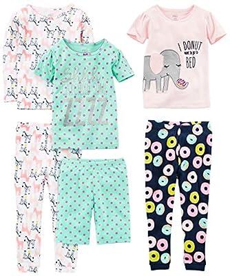 Simple Joys by Carter's Baby Girls 6-Piece Snug Fit Cotton Pajama Set, Donuts/Zebra/Dots, 18 Months