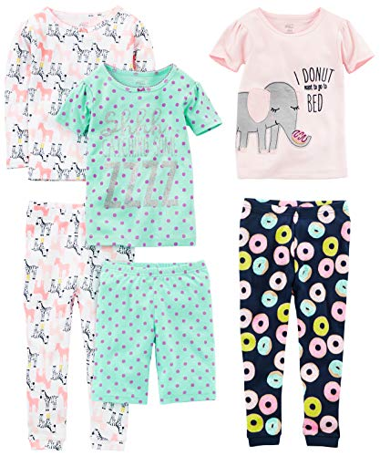 Simple Joys by Carter's Girls' Little Kid 6-Piece Snug Fit Cotton Pajama Set, Donuts/Zebra/Dots, 8