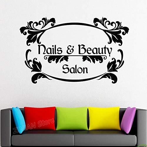 guijiumai Home Decor Nail Bellezza Wall Sticker Citazione Negozio di Barbiere Nail Art Design Manicure Pedicure Salon Adesivo Adesivi in Vinile Bianco 102X56 cm