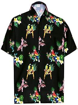 HAPPY BAY Men s Funky Floral Print Hawaiian Aloha Holiday Shirt M Black_AA421
