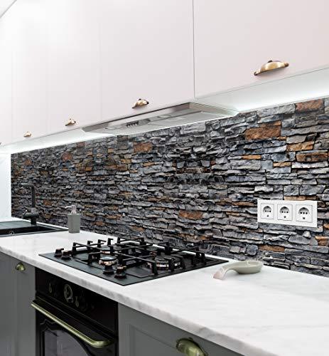 MyMaxxi   selbstklebende Küchenrückwand Folie ohne bohren   Aufkleber Motiv Mauer 01   60cm hoch   adhesive kitchen wall design   Wandtattoo Wandbild Küche   Wand-Deko   Wandgestaltung