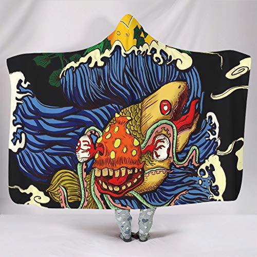 Wandlovers Yokai - Sudadera con capucha (forro polar, 150 x 200 cm), diseño de olas y sol, color blanco