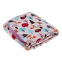 新生児 ベビー ベルベル フリース 二層 ブランケット 寝具 毛布 おくるみ バスタオル 快適 動物柄 全10パタン - フクロウとフォックス