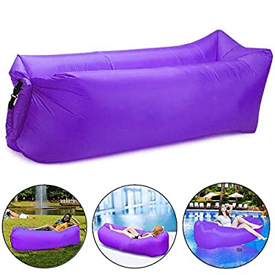 Bry Inflatable Lounger Air Chair Sofa Bed Sleeping Bag Couch for Beach Camping Lake Garden (Purple)