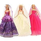 Festfun 3 Set Robes de Soirée de Poupée Robe de Mariage élégante en Dentelle pour Poupée de 11,5 Pouce
