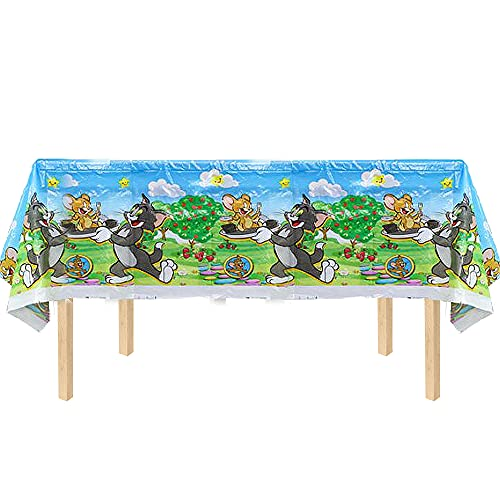 COMBO 1PC 7X4FT TABLE COVER TOM AND JERRY PARTY SUPPLIES FAVOR DECORATIONS DECOR THEME IDEA FUN CELEBRATION HAPPY BIRTHDAY FAVO GIFT CENTERPIECE DANCE VIDEO GAME MUSIC