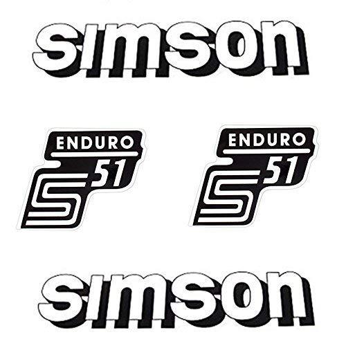 Set: Aufkleber Sticker 4-teilig SIMSON S51 ENDURO WEISS