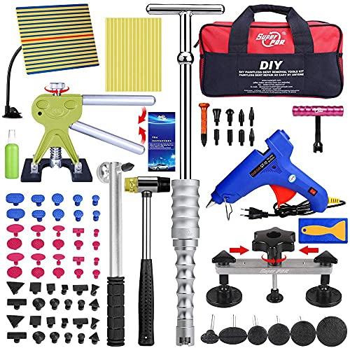 Super PDR Dellen Reparaturset, Ausbeulwerkzeug Lackfreies mit 2 in 1 T-Bar Dent Puller, Bridge Dent Puller und Dent Lifter, für Entfernung von Metalloberflächenbeulen und Hagelschaden Delle, 96pcs