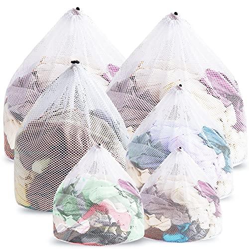 Likorlove 6 Stück Wäschesack, Waschmaschine mit Kordelstopper Wäschebeutel Wäschenetze für Waeschesack Babywäsche Unterwäsche Waschnetz Socken für Wohnheim Apartment Wiederverwendbare Groß Netzbeutel