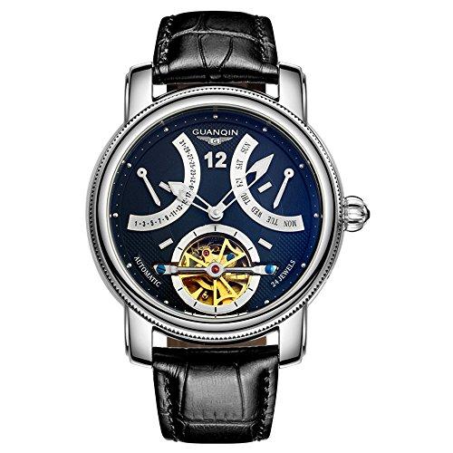 Guanqin Reloj de pulsera analógico automático para hombre con correa de piel GJ16009,...