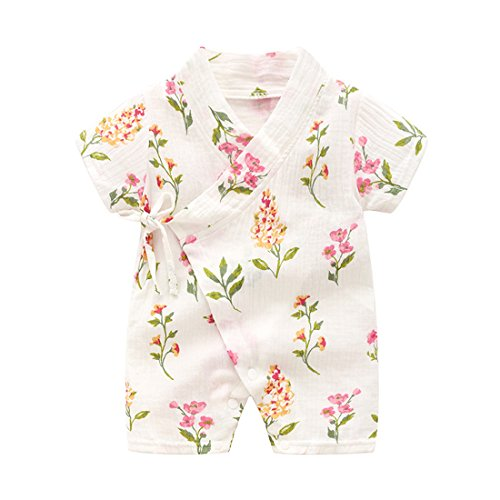 PAUBOLI Kimono Robe Newborn Cotton Yarn Robe Baby Romper Infant Japanese Pajamas (0-3 Months, Plants)