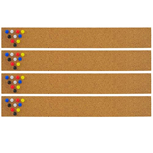 JILoffice Cork Strip Bulletin Bar, 2 x 15 Inch, 4 Pieces for Office Home and School