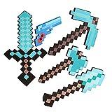 JYMEI Espada de Juguete de Espuma,Diamond Sword,MC Toy Set,Minecraft Pixel Pickaxe,Diamond Pixel Gun,Espectacular Espada de Batalla,Accesorio de Doble Hacha,Los Mejores Regalos para niños (6 Estilos)