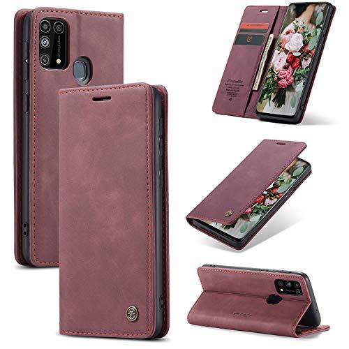FMPC Handyhülle für Samsung Galaxy M31 Premium Lederhülle PU Flip Magnet Hülle Wallet Klapphülle Silikon Bumper Schutzhülle für Samsung Galaxy M31 Handytasche - Wein Rot