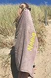 S< XXL Strandtuch - 100x200 - Saunatuch - 100% Baumwolle - Stickerei - Strandtuch mit Name Bestickt (Taupe)