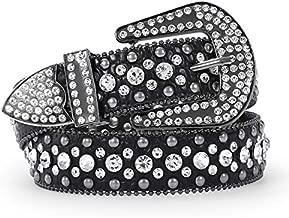 Women Rhinestone Belt for Jeans, SANSTHS Western Cowgirl Bling Studded Belt Faux Crocodile Grain Leather(S,Black)