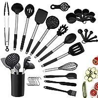 charlemain utensili cucina silicone, 35 pezzi set utensili cucina silicone antiaderente, mestoli cucina silicone senza bpa, manico in acciaio utensili da cucina con supporto - nero