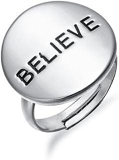 """COTTON TREE 珠宝 18k 金褶和白色圆形""""信念""""礼物可调节开口环"""