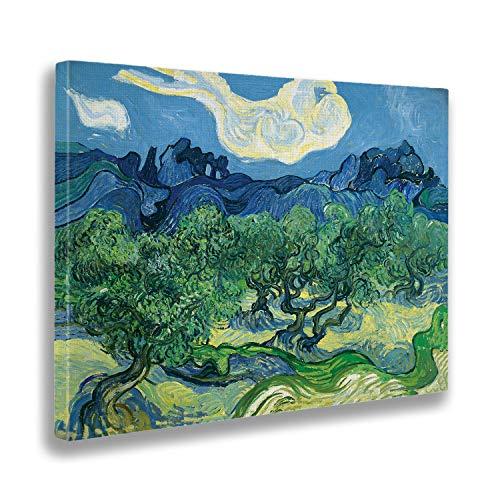 - Cuadro - Vincent Van Gogh - Olivos en un Paisaje de montaña - Estampado en Lienzo - Listo para Colgar - Varios tamaños 140x100 cm