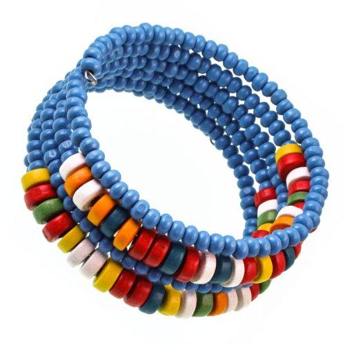 Chic-Net Holzarmreif Armreif Holzarmband Armband Holz Damen Schmuck Holzperlen Perlen Spirale blau bunt
