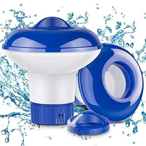RenFox Pool Dosierschwimmer, 2 PCS Pool Chlor Floater für Chlortabletten Dosierer, Einstellbare Belüftungsöffnungen & Verschlusskappe, Pool chemischen Spender für Innen- und Außenpools, Badewanne
