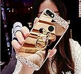 Funda para Huawei Y6 Pro 2017, funda para Huawei Y6 Pro 2017, carcasa de ikasus Bling Diamante Glitter Goma Chapado Espejo Maquillaje Funda con Soporte para Oso Soporte Kickstand Suave TPU Parachoques