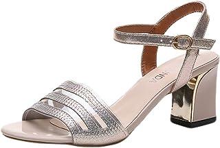 8895fd56768c28 Ivo Ryan_Women Shoes Talon Haut Bout Ouvert Talon Haut Talon Carré Chaussures  Femmes Rétro Rome Peep