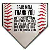 ChalkTalkSPORTS Baseball Stitches Home Plate Plaque | Your Message to Mom or Dad | Ready to Autograph (Dear Mom (Plural))