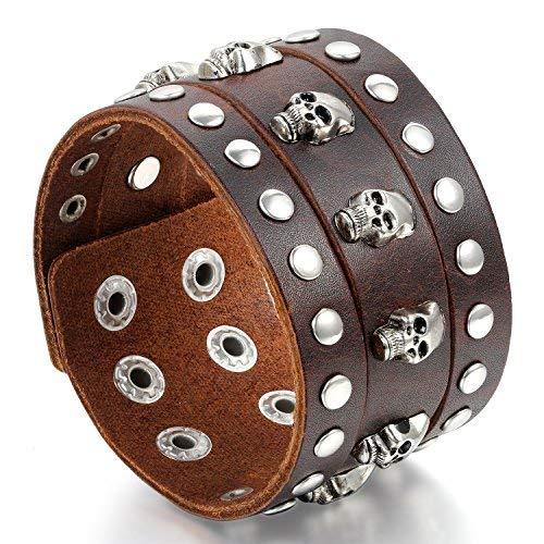 JewelryWe Joyas pulsera de hombre mujer, pulsera ancha con hebilla Punk Rock, piel aleación, marrón/negro, calavera Marrone#