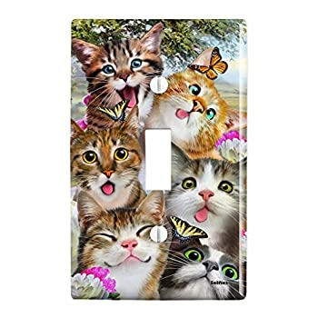 GRAPHICS & MORE Cats and Butterflies Selfie Plastic Wall Decor Toggle Light Switch Plate Cover