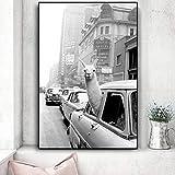 wZUN Divertidos Carteles de Pintura de Camellos de Alpaca e Impresiones en Lienzo de Animales en la Ciudad de Nueva York Taxi Sala de Estar decoración del hogar 60X90 Sin Marco