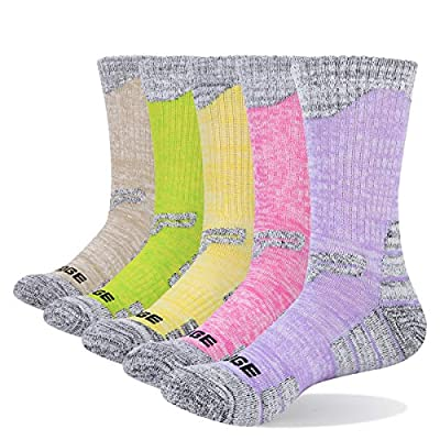YUEDGE 5 Packs Women's Antiskid Wicking Outdoor Multi Performance Hiking Cushion Socks, Assortment 5Pack Pink/Red/Green/Yellow/Purple, Women Shoe 7-10.5 US Size