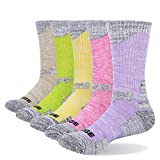 YUEDGE 5 Packs Women's Antiskid Wicking Outdoor Multi Performance Hiking Cushion Socks, Assortment