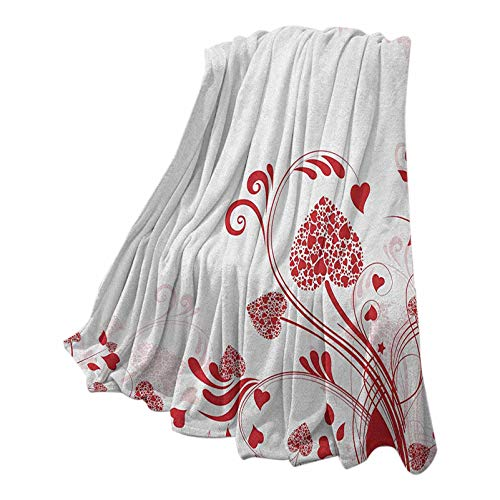 Red Christmas Blanket Super Soft & Cozy Floral Nature Inspired Frame with Heart Shaped Blooms and Curly Leaves Garden of Romance Red White 50' W x 70' L