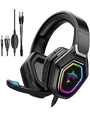 havit Trådbundet spelheadset för PS5, spelhörlurar RGB med 50 mm drivrutin, In-Line Control & HD-mikrofon, spelheadset Overear-hörlurar för PS4/XBOX One/PC, svart