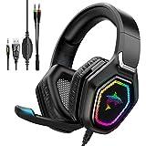 Havit Auriculares Gaming RGB Sonido Envolvente 3D, Control del Volumen y micrófono HD, Cascos Gaming para PS4 / PS5 / Xbox One/PC/Laptop